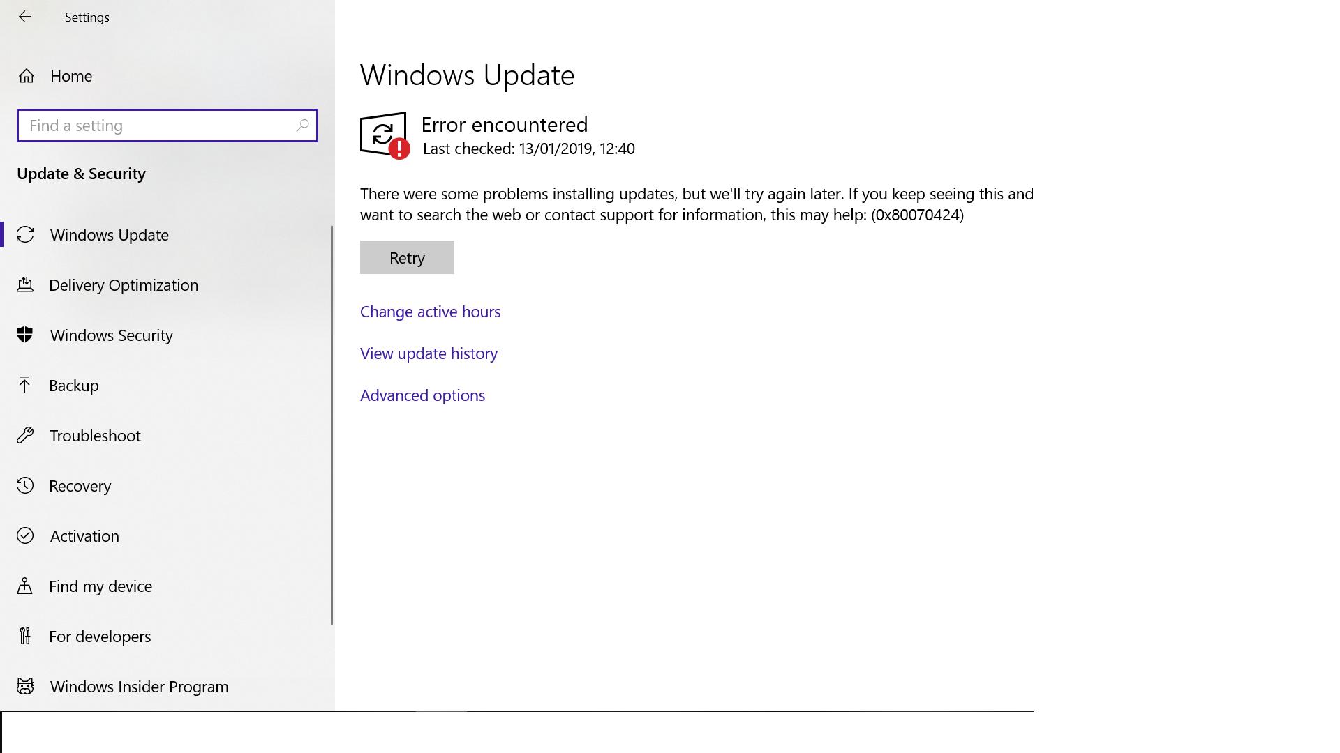 Errore Windows Update 800b0109
